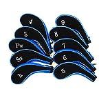 ゴルフ クラブ ヘッド カバー ケース 番手付 3色 10個 セット ドライバー アイアン パター (ブルー)