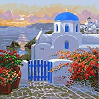 海辺の城風景diyデジタル絵画による数字現代の壁アートキャンバス絵画ユニークなギフト家の装飾40×50センチ