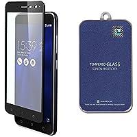 【ZenFone3 Asus ZE520KL 5.2インチ対応】 日本製 新型 ガラスフィルムフィルム 全面保護 最高硬度 9H [AFP画面保護:指紋防止 スクラッチ防止 気泡ゼロ 防汚] ゼンフォン 0.3mm 2.5D (ブラック フレーム) 【WANLOK安心安全日本メーカー 】 Zenfone3 Black