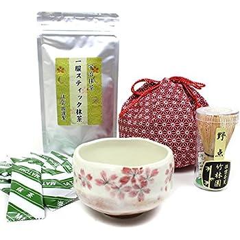 さくら 小茶碗【 赤 巾着 野点 お抹茶セット 】