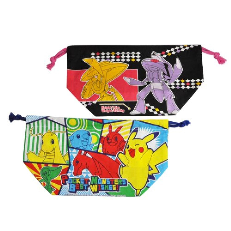 スケーター ランチ巾着 2枚組 ポケモン ベストウィッシュ お弁当用袋 ポケットモンスター KB7W