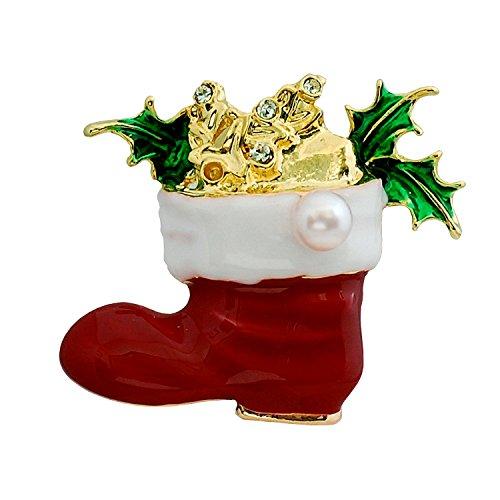 [enyapearl] アコヤ真珠 ブローチ クリスマス サンタ ブーツ ABR301