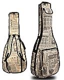 (ラクエスト) Laquest 防水 背負える アコギ ギグバッグ デニム 英字新聞 迷彩 リュック タイプ 2WAY ソフト ギター ケース アコースティック クラッシック ギター 保護 運搬 個性派柄 カモフラージュ ドクロ (ニュースペーパー)