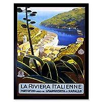 Travel Italian Riviera Portofino Harbour Sea Italy Vintage Art Print Framed Poster Wall Decor 12X16 Inch 旅行イタリアの港イタリアビンテージポスター壁デコ