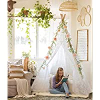 7 ' Giant KidsレースTeepee Tent for Girls Teenagers Indian Tipi with Carry Bag forインドアアウトドアパーティー、ウェディング&クリスマス装飾、by Tiny Land