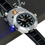 (Ckeyin) ライター 腕時計  USB充電 腕時計  ライターと腕時計2用機能 理想的なギフト商品として (ブラック)