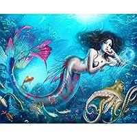 フルラウンド3d diyダイヤモンド絵画クロスステッチキットモザイク刺繍クロスステッチ人魚絵家の装飾ギフト45x60センチ