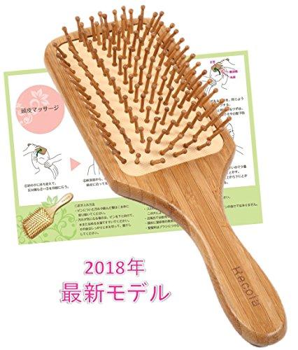 Recola ヘアブラシ 木製 頭皮マッサージ 【2018年最新モデル】 取説付(大)