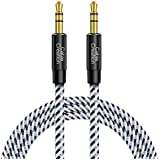 Aux Cable, CableCreation 10 Feet 3.5mm Male to Male Auxiliary Audio Stereo Cord, Compatible with Car, Headphones, iPods, iPhones, iPads,Tablets, Laptops, Android Smart Phones & More, 3M /Black & White