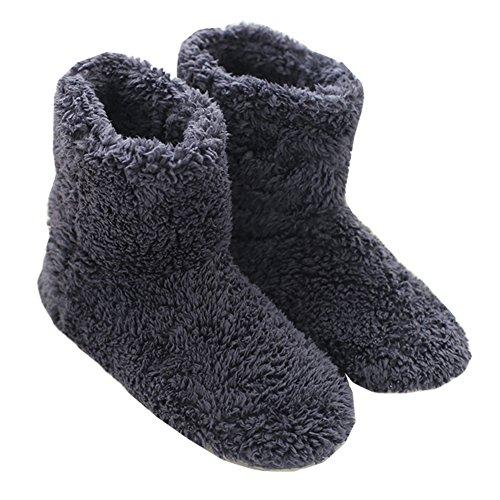 Mianshe 北欧 ルームシューズ もこもこ ルームブーツ 暖かい ボアスリッパ 男女兼用 (ブルー Lサイズ 27cmくらいまで)