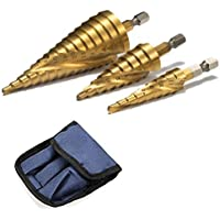 ステップドリル 六角軸 スパイラル 螺旋 チタンコーティング ミリ(mm)表示 HSS鋼