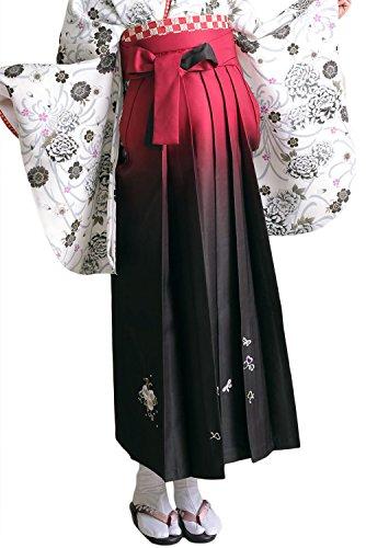 [キョウエツ] 袴 ぼかし 刺繍 薔薇 ブーケ 桜花冠 レディース (LL, 深紅B)