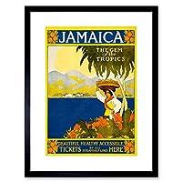 Travel Jamaica Steamship Gem Tropics Caribbean Framed Wall Art Print