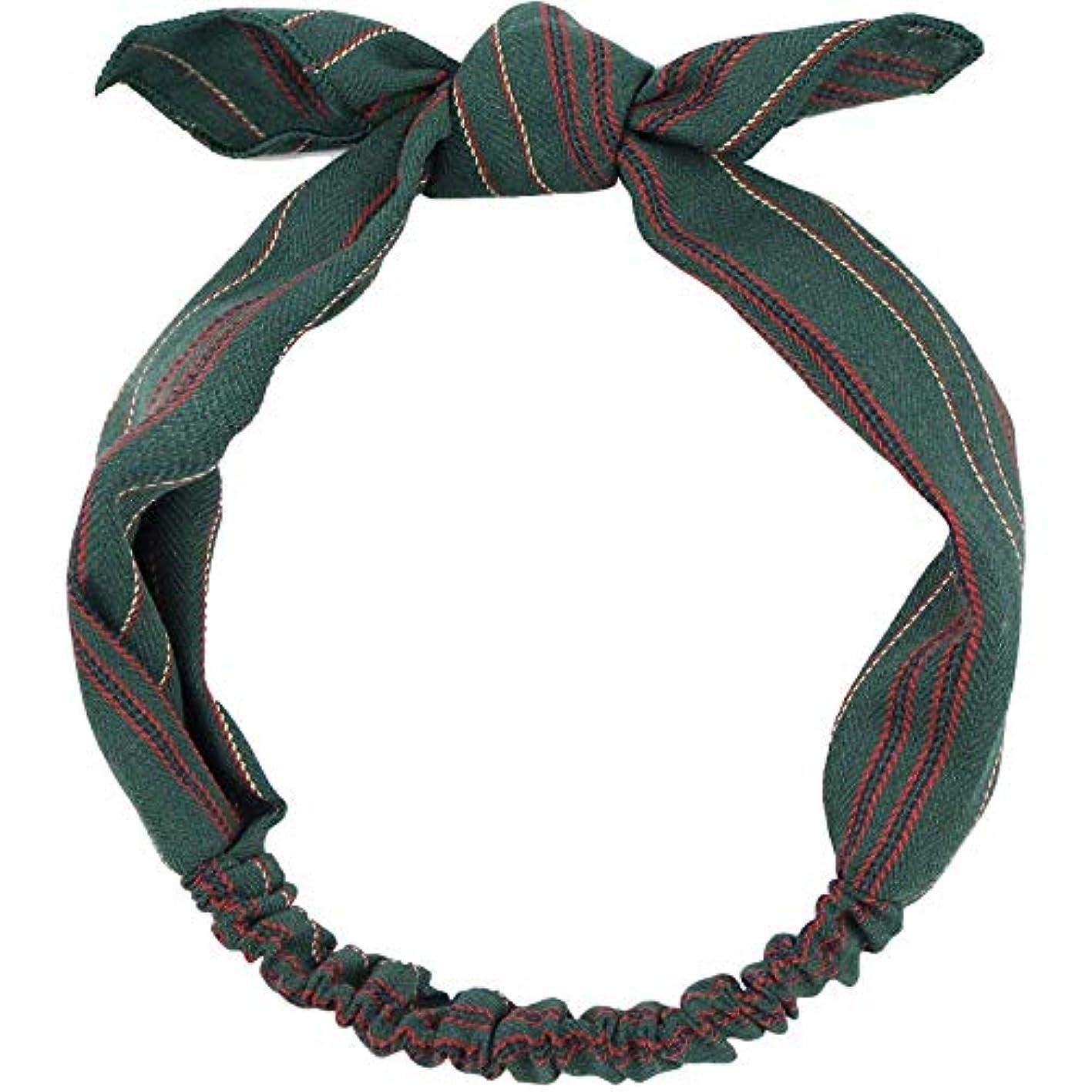 リーダーシップ忌まわしいスチュアート島濃い緑の綿と麻のチョウの交差する女性のゆるい髪飾りのカチューシャ