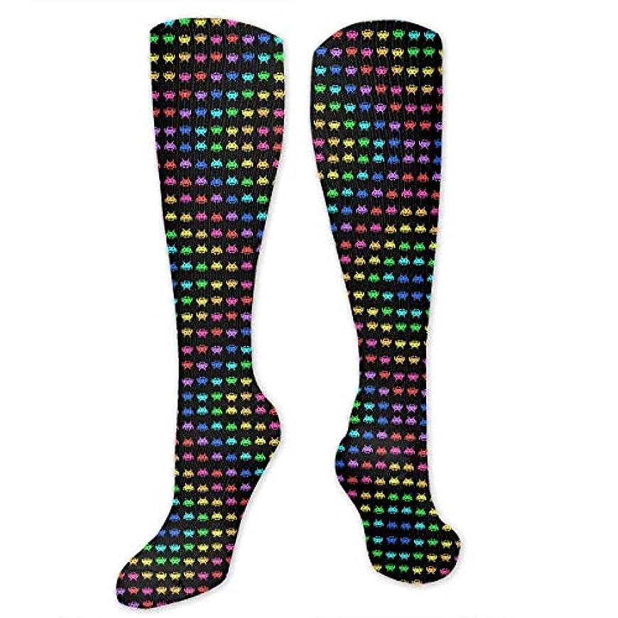 共産主義者志す彼の靴下,ストッキング,野生のジョーカー,実際,秋の本質,冬必須,サマーウェア&RBXAA Space Invaders Black Socks Women's Winter Cotton Long Tube Socks Knee...