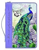 美しいクジャクフローラルLeatheretteジッパー聖書カバー M