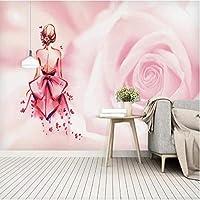 Mzznz カスタムピンク女の子バックシャドウ花背景壁紙壁画-250X175Cm