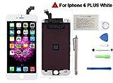 CWX iPhone 6 Plus 5.5インチ 修理用フロントパネル(フロントガラスデジタイザ) タッチパネル 液晶パネルセット(ホワイト)