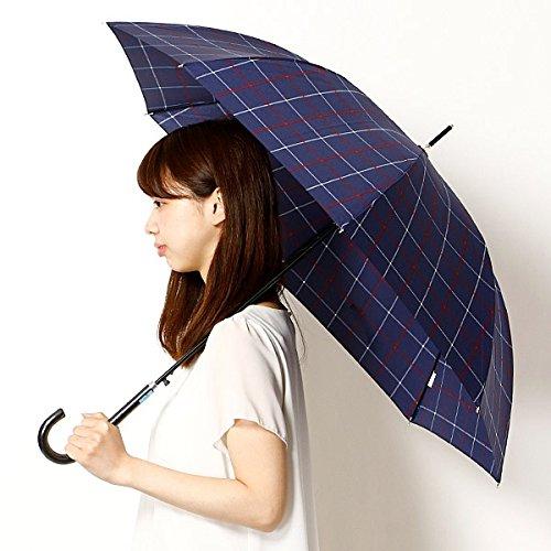 マルイの雨傘 【長傘(ジャンプ式)・2サイズから選べる】雨傘/ワンタッチタイプ/レディース【チェック(ネイビー)/大きめサイズ(60cm)】