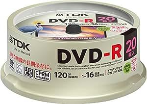 TDK 録画用DVD-R デジタル放送録画対応(CPRM) 1-16倍速 インクジェットプリンタ対応(ホワイト・ワイド) 20枚スピンドル DR120DPWC20PUE
