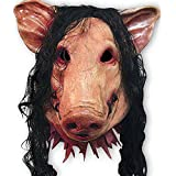 Zmond - 1PC Saw Pig Head Scary Masks Novelty Halloween Mask with Hair Halloween Mask Caveira Cosplay Costume Latex Festival Supplies