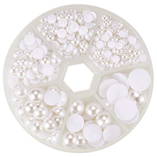 PandaHall Elite 人工 真珠 半円 ハーフ ラウンド ジュエリー DIY用 ホワイト 約650個