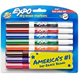 EXPO Low Odour Dry Erase Markers, Fine Tip, Assorted Colours, 8 Count