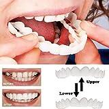 3組の一時的な化粧品の歯入れ歯の歯の化粧品のシミュレーションのブレースの上部のブレース+下部のブレース、瞬時に快適な柔らかい完璧なベニヤ,3upperteeth+lowerteeth