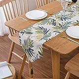 ACHICOO テーブル ランナー 葉 パターン デスク カバー シンプル ジャカード ダイニング 装飾 タッセルと緑の葉 30×200cm