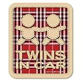 チェック柄 TWINS IN CAR ツインズインカー ステッカー(レッド) 双子が乗ってます