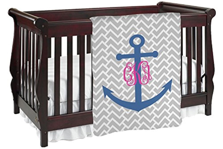 モノグラムアンカーBaby Blanket ( Personalized ) Baby Blanket グレー mi-baby-blanket-f+416976
