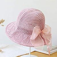Py 帽子レースニット帽子屋外旅行ビーチ帽子漁師帽子ファッションシンプルSunhat (Color : Pink)