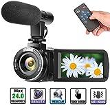 ビデオカメラ デジタルビデオカメラ フルHD 1080P 30FPS カムコーダー 一時停止機能 外部マイク対応 外付けマイク式 付属リモコン