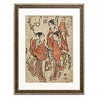 葛飾北斎 Katsushika Hokusai 「仁和嘉狂言 三月 花すもふ」 額装アート作品