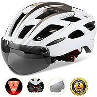 Shinmax自転車ヘルメット, LEDライト付きサイクルヘルメット 安全ライト付き自転車ヘルメット ゴーグル超軽量自転車ヘルメット アダルト自転車ヘルメット 取り外し可能なシールドサンバイザー付き