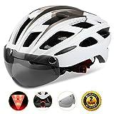 Shinmax自転車ヘルメット, LEDライト付きサイク...