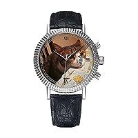 アナログクォーツ腕時計 - カレンダー日付 薄型 クラシック カジュアルウォッチ ブラックレザーバンド 大きなフェイスウォッチ - 個性的な柄 RMVKキャット 食べ物が欲しいブラウン パウ