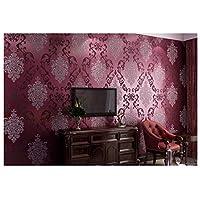 壁紙ヨーロッパスタイルのダマスク模様3Dレリーフ効果不織布壁紙ロール壁画寝室/リビングルーム/テレビの背景の壁N-013(色:B、サイズ:53cm * 1000cm)