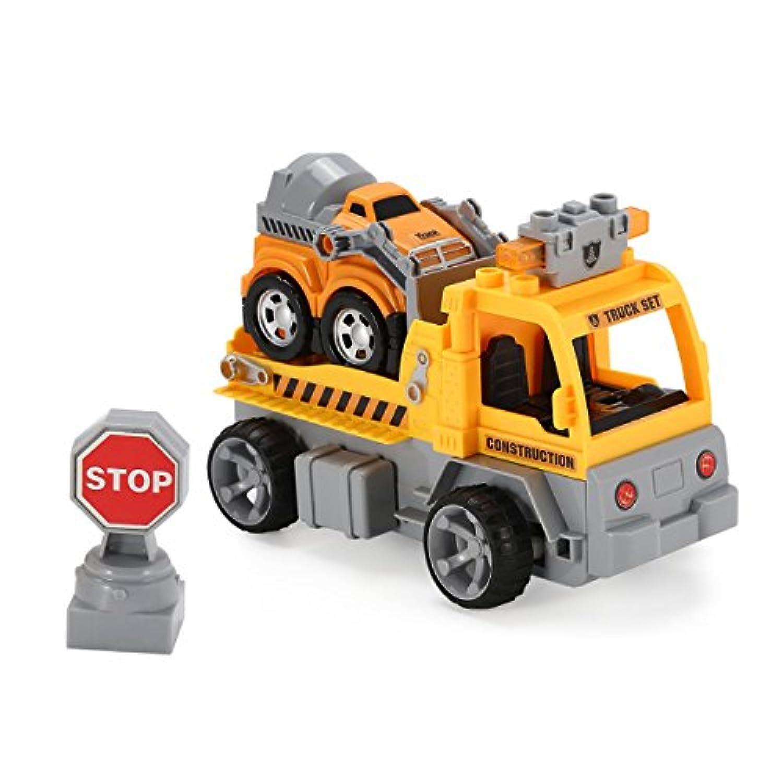 1/18ビルディングブロックエンジニアトレーラーRCトラックカー?レンガ教育贈り物