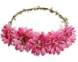 Amazon.co.jp(ビグッド)Bigood 花冠 花かんむり ウェディング ヘッドドレス 花輪 フラワー造花 髪飾り シンプル 花嫁 二次会 結婚式 パーティーローズ色