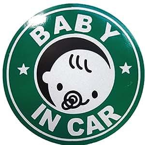 BABY IN CAR 赤ちゃん 乗車中 ( 12cm マグネット ステッカー グリーン )