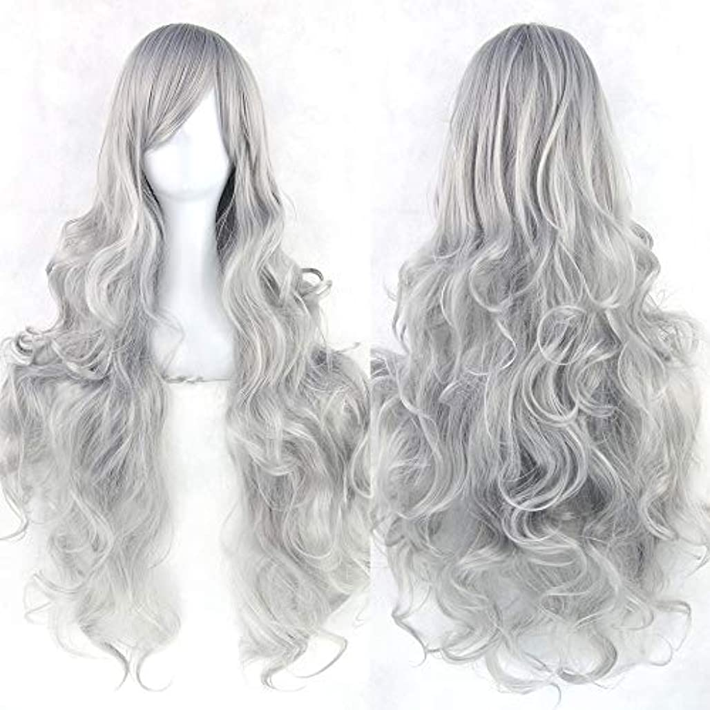 女性の長い巻き毛のウェーブのかかった髪のかつら31インチの人工毛のかつらサイドパーティングハロウィンコスプレ衣装アニメパーティーかつら (Color : Silver gray)