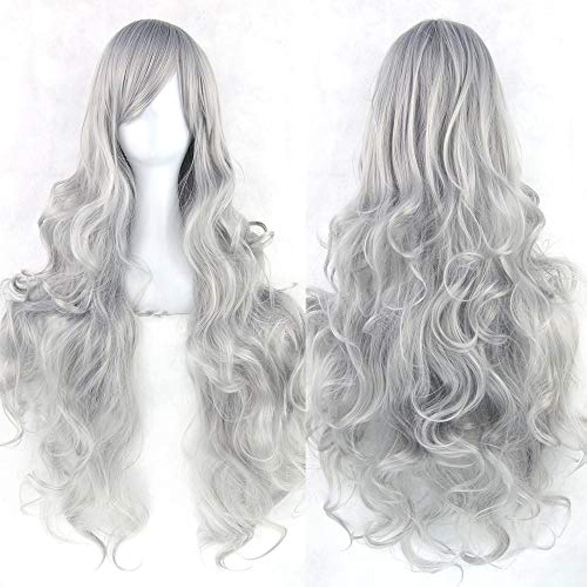 メッシュ実際メッセンジャー女性の長い巻き毛のウェーブのかかった髪のかつら31インチの人工毛のかつらサイドパーティングハロウィンコスプレ衣装アニメパーティーかつら (Color : Silver gray)