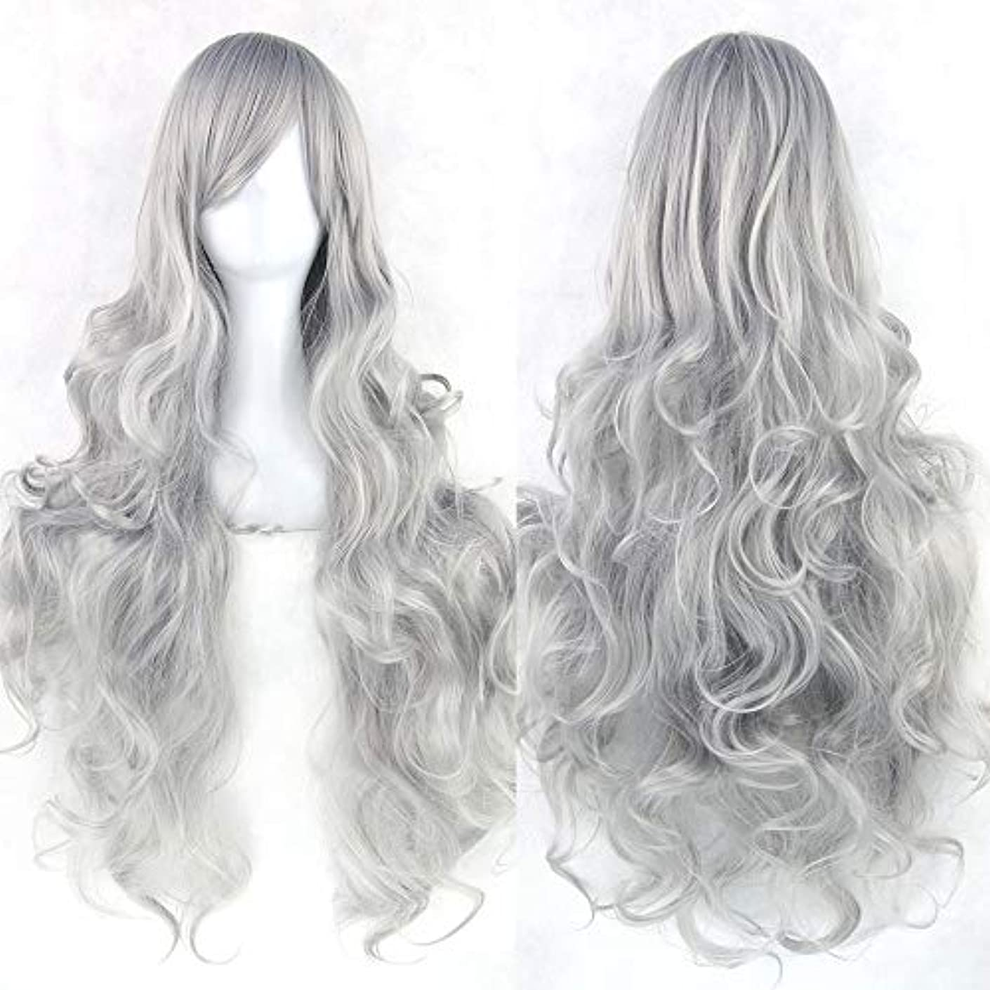 絶妙読者銃女性の長い巻き毛のウェーブのかかった髪のかつら31インチの人工毛のかつらサイドパーティングハロウィンコスプレ衣装アニメパーティーかつら (Color : Silver gray)
