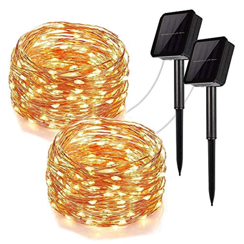 シーズン宿る自殺LEDイルミネーションライト ソーラー ストリングスライト 100電球 10m 電飾 8種光るパターン IP65防水 飾りライト クリスマス?ツリー パーティー フェアリーライト 装飾 結婚式 誕生日 室内 室外 ガーデンライト (ウォームホワイト2pcs 10m)