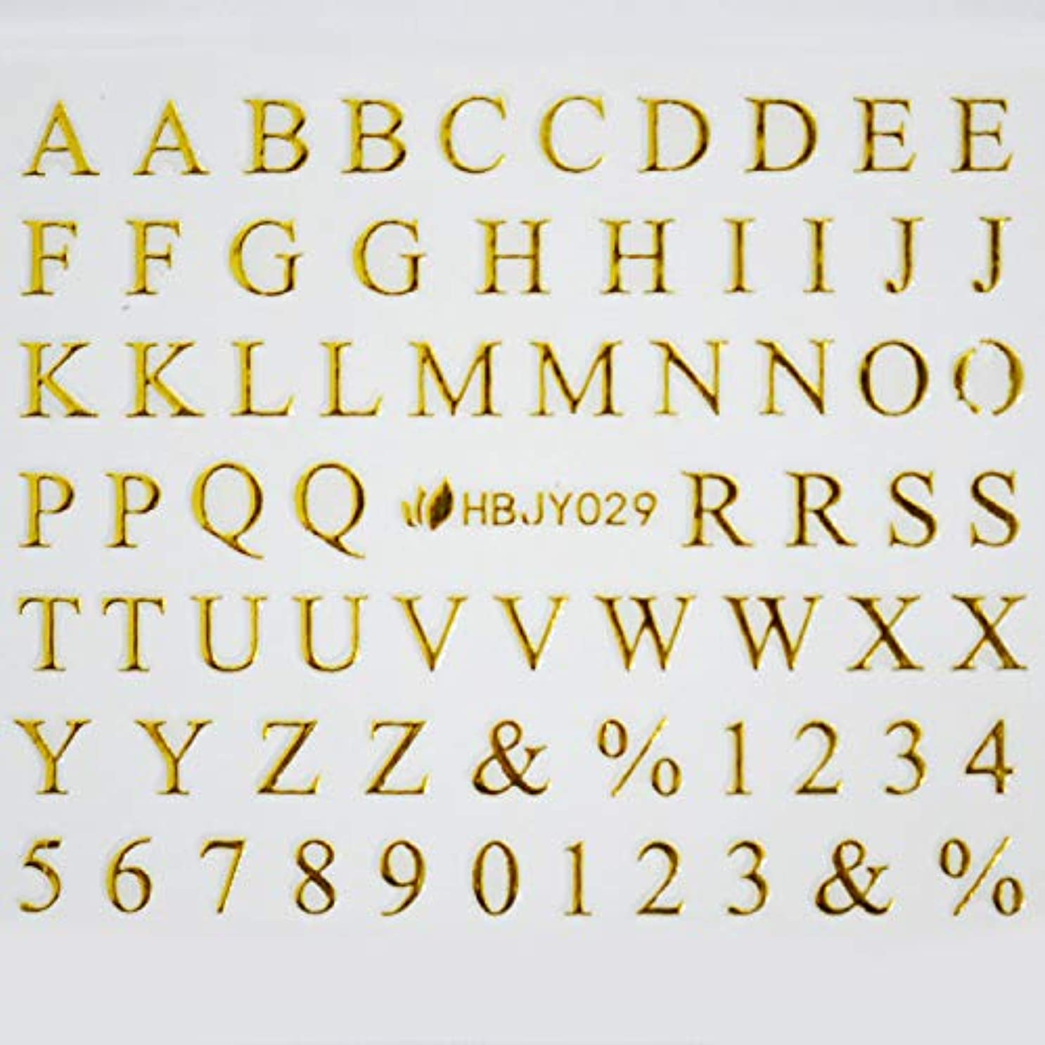 何十人も共和国大胆不敵アルファベットやメッセージ柄のネイルシール (ローマン大文字GOLD)