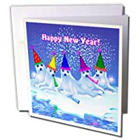Dream Essence Designs新しい年のグループを–Adorable BabyハープシールCelebrating and Wishing Everyone A Happy New Year 。–グリーティングカード Individual Greeting Card