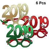 BESTOYARD 6個入り 新年眼鏡 2019 パーティーメガネフレーム キラキラ コスチューム小道具 正月 パーティー用品(ランダムカラー)