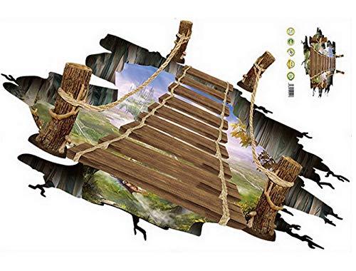 Yiteng ウォールステッカー 3D橋 だまし絵 トリックアート 吊り橋 飛び出す ひび割れ 防水 防湿 防カビ インテリアシール ヨーロッパ風 リビング