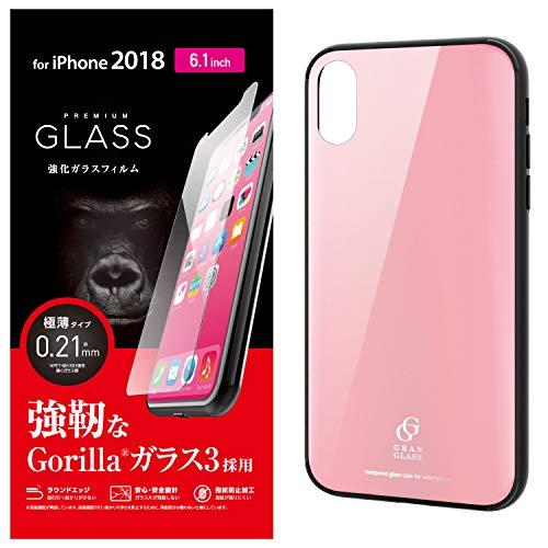 エレコム PM-A18CHVCG3PN iPhone XR ハイブリッドケース ガラス 背面カラー ピンク ケース・カバー